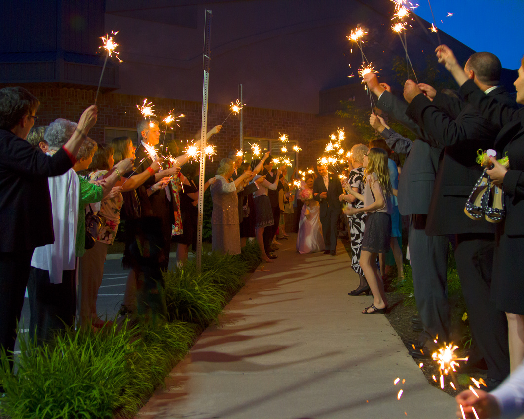 Sparkler sendoff Celebration Hall wedding
