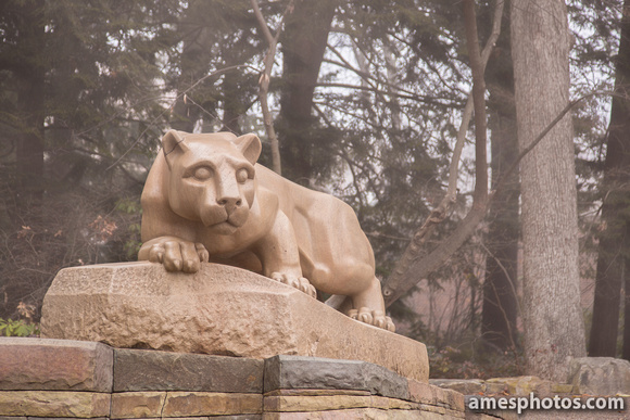 Nittany Lion Shrine, Late Fall with Mist, Four Seasons Collection