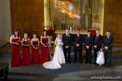 wedding party photo Penn State Eisenhower Chapel