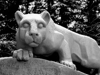 A light snow on the Nittany Lion - Black and White