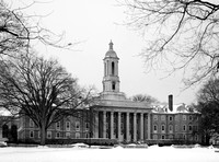 Old Main at Dusk with Snow - Black and White