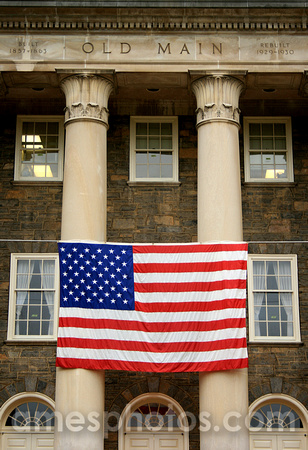 Penn State Old Main with Flag