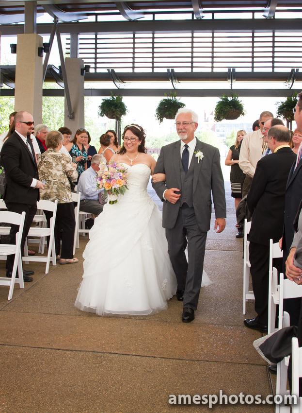 Penn State arboretum wedding walking down the aisle