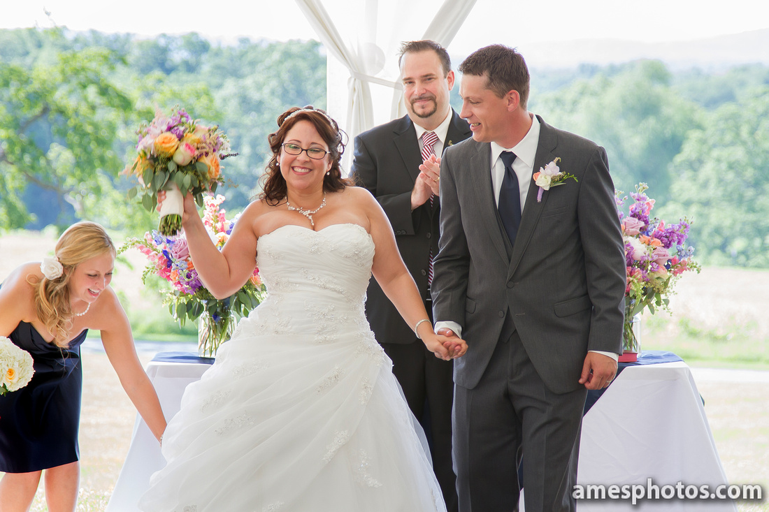 Penn State arboretum wedding - happy bride
