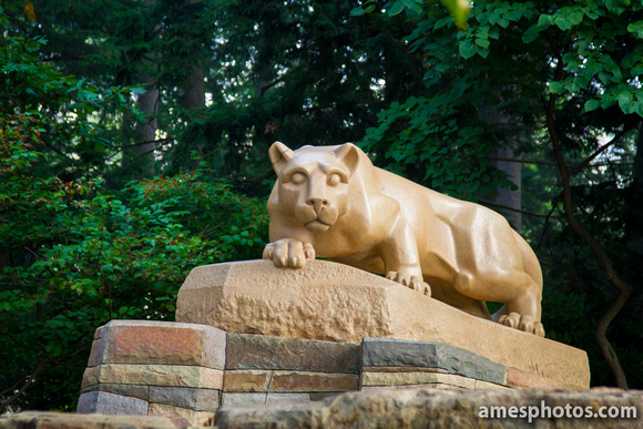 New Nittany Lion Shrine - morning light, close-up with base