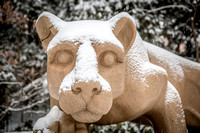 Closeup of Snow on the Nittany Lion Shrine