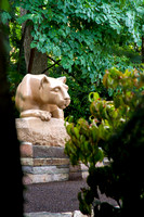 New Nittany Lion Shrine Portrait through the trees