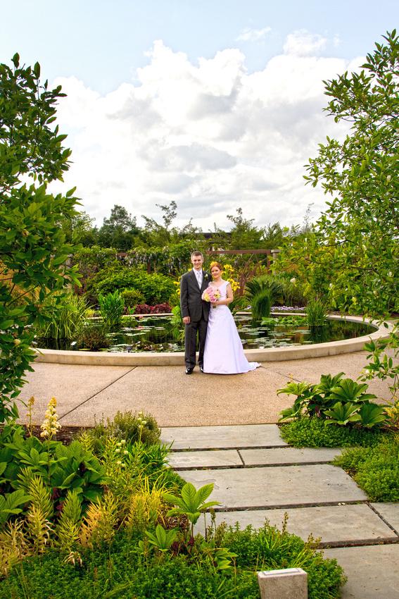 Penn State arboretum lotus pool wedding photo