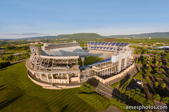 Aerial Photo of Beaver Stadium during the golden hour