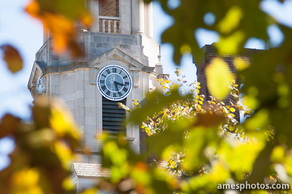 Old Main Clock in Fall