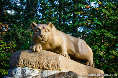 Nittany Lion statue in October